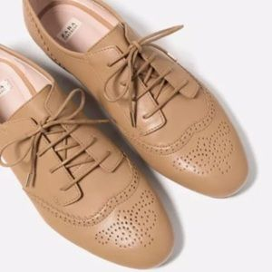 Zara faux leather tan lace up oxfords